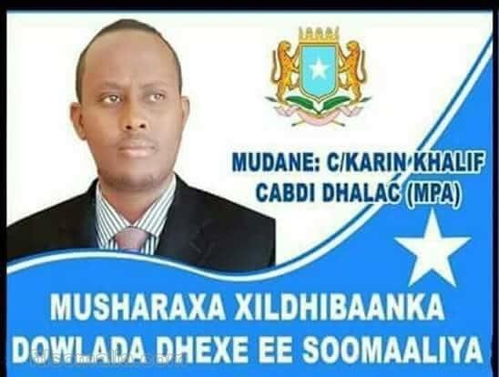 Male Member of Parliament Somalia, Galmudug, Xil. Abdikarim Khalif Abdi Dhalac