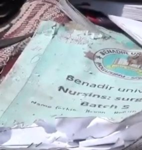 Benadir University Nursing Surgery Book, belonging to one of the victims